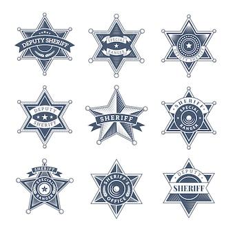 Odznaki szeryfa bezpieczeństwa. tarcza policji i logo oficerów symbole texas rangers