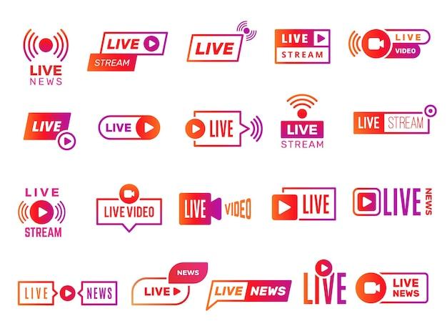 Odznaki transmisji na żywo. transmisja wideo pokazuje cyfrowe szablony tekstowe online kolekcja naklejek z wiadomościami na żywo. strumień wideo ilustracji, transmisja strumieniowa na żywo online