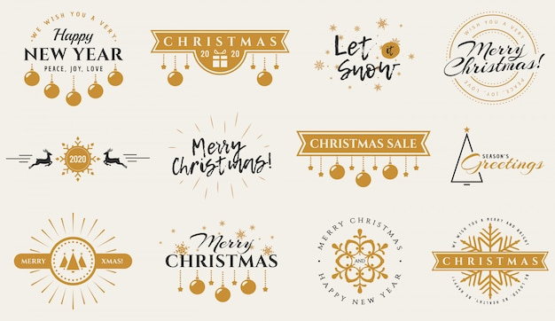 Odznaki typografii na boże narodzenie, nowy rok i zima
