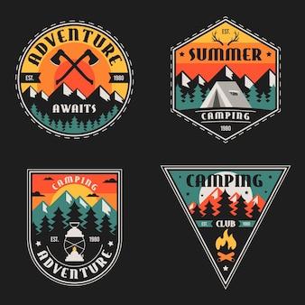 Odznaki vintage camping & adventures