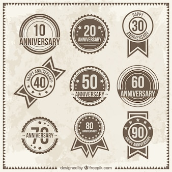Odznaki vintage rocznica