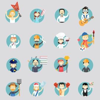 Odznaki z awatarami różnych zawodów z muzykami lekarz sztuk walki pracownik budowlany szef kuchni artysta policjantka profesor sprzątaczka architekt rolnik listonosz i kelnerka