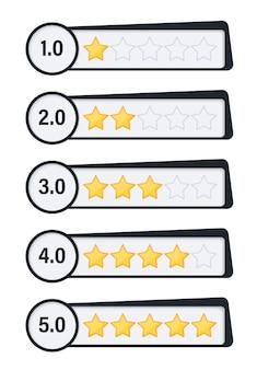 Odznaki z ocenami gwiazdek. pięć gwiazdek dla koncepcji sieci lub aplikacji. przyciski do witryn.