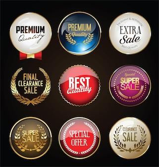 Odznaki z złotą kolekcją wieniec laurowy