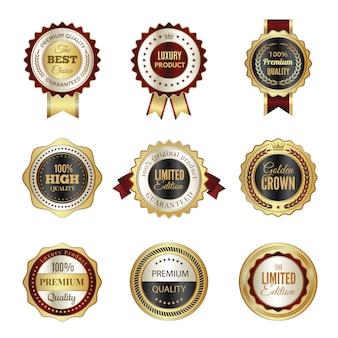 Odznaki złote etykiety. najwyższej jakości luksusowe szablony pieczęć korona usługi premium