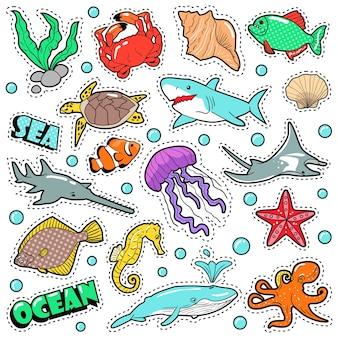 Odznaki życia morskiego, naszywki, naklejki - ryba rekin żółw ośmiornica w stylu komiksowym. przyroda mórz i oceanów. ilustracja