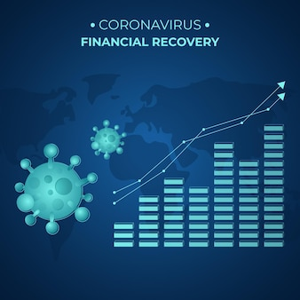 Odzyskiwanie finansowe koronawirusa z rosnącym wykresem