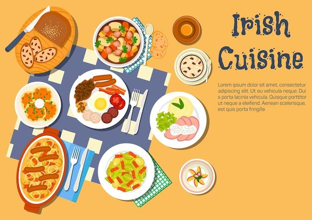 Odżywcza i wygodna płaska ikona irlandzkiego jedzenia z naleśnikami ziemniaczanymi w pudełku i irlandzkim gulaszem