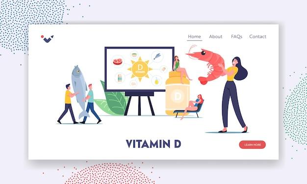 Odżywcze suplementy uzależniające dla zdrowia szablonu strony docelowej. małe postacie prezentujące źródła witaminy d, owoce morza, organiczne produkty naturalne i opalanie. ilustracja wektorowa kreskówka ludzie