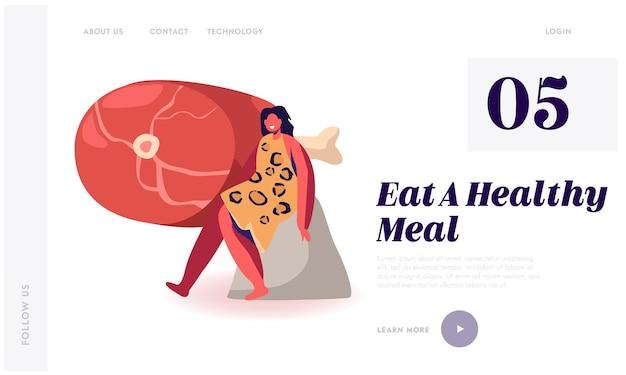 Odżywianie z dietą paleo, zdrowe odżywianie starożytnych ludzi strona docelowa witryny internetowej.