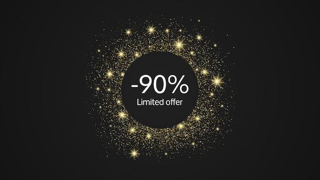 Oferta limitowana złoty baner z rabatem 90%. białe cyfry w złotym kole błyszczącym na ciemnym tle. ilustracja wektorowa