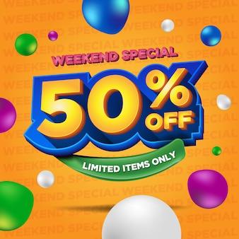 Oferta ograniczona czasowo specjalny baner weekendowy ze zniżką procentową