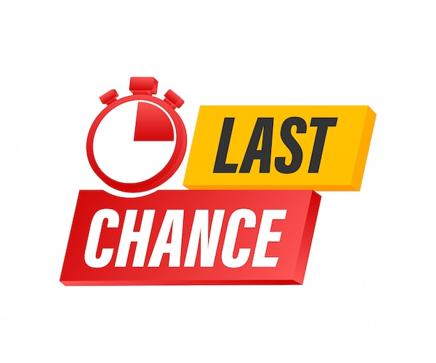 Oferta ostatniej szansy i last minute z transparentami z zegarem, koncepcja zakupów biznesowych. ilustracji.