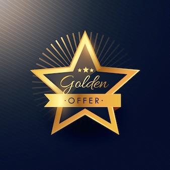 Oferta projektowania etykiet złoty znaczek w luksusowym stylu i premii