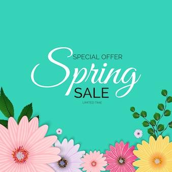 Oferta promocyjna, karta na sezon wiosenny z dekoracją wiosennych roślin, liści i kwiatów.
