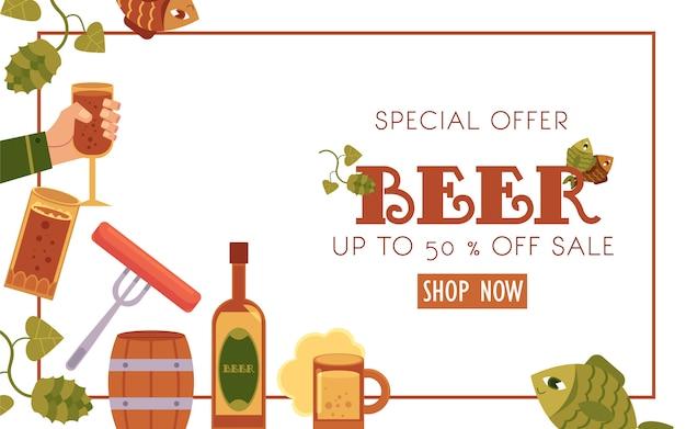 Oferta specjalna banner sprzedaży piwa
