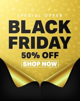 Oferta specjalna czarny piątek 50% zniżki i kup teraz plakat