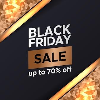 Oferta specjalna czarny piątek sprzedaż rabat promocja szablon transparent sezon ze złotym wzorem dekoracji na luksusowy elegancki element