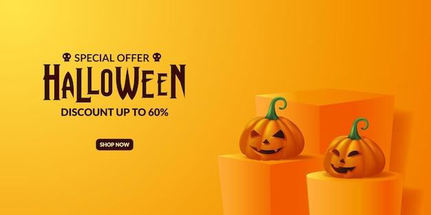 Oferta specjalna jack o lantern 3d dynia na promocję na imprezę halloweenową z szablonem banera reklamowego na podium na scenie