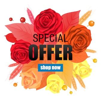 Oferta specjalna kup teraz napis z gradientowymi różami i liśćmi.