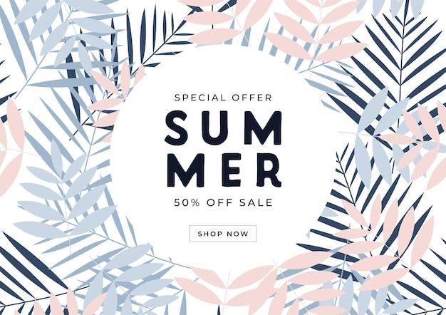 Oferta specjalna letnia wyprzedaż 50% zniżki na baner