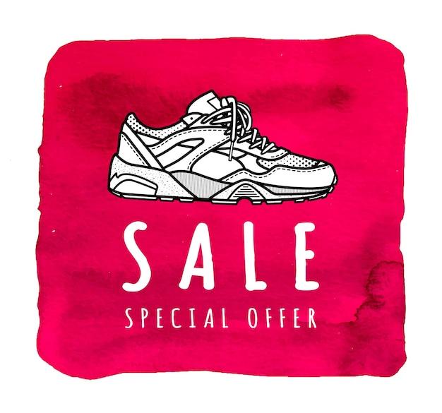 Oferta specjalna na wyprzedaży tenisówek ilustracja do sklepu obuwniczego