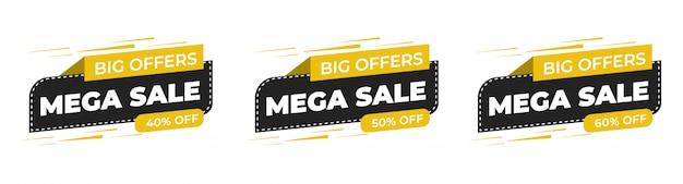 Oferta specjalna sprzedaży i metki cenowe wektor premium