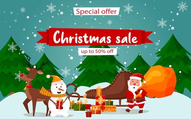 Oferta specjalna świąteczna wyprzedaż piękny baner rabatowy z jeleniem świętego mikołaja i bałwanem