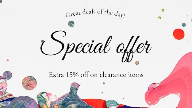 Oferta specjalna szablon sprzedaży marmuru na baner bloga o modzie .