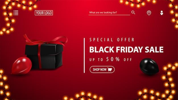 Oferta specjalna, wyprzedaż black friday, do 50% zniżki, czerwony baner rabatowy z czarnym prezentem, czerwono-czarnymi balonami i guzikiem. baner rabatowy na stronę główną serwisu