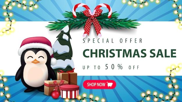 Oferta specjalna, wyprzedaż świąteczna, do 30 rabatów. wieniec choinkowy, różowy guzik i pingwin w czapce świętego mikołaja z prezentami