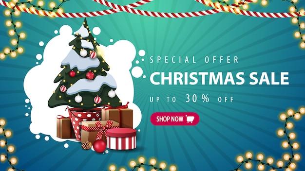 Oferta specjalna, wyprzedaż świąteczna, do 30% zniżki, niebieski baner rabatowy