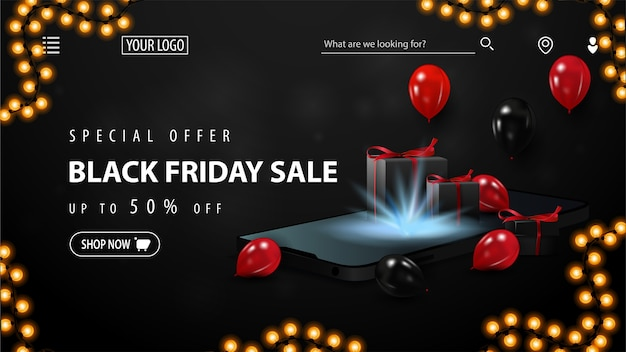 Oferta specjalna, wyprzedaż w czarny piątek, do 50% zniżki, czarny baner rabatowy na stronę internetową ze smartfonem, czerwonymi i czarnymi balonami oraz pudełkami z prezentami