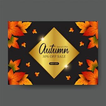 Oferta sprzedaży jesień liście szablon upadku