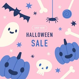 Oferta sprzedaży na halloween ładny ręcznie rysowane szablonilustracja wektorowa