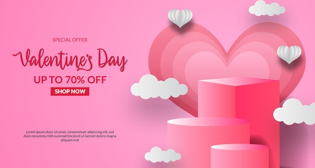 Oferta sprzedaży walentynkowej szablon transparent z pustym wyświetlaczem produktu na podium z różowym pastelowym tłem