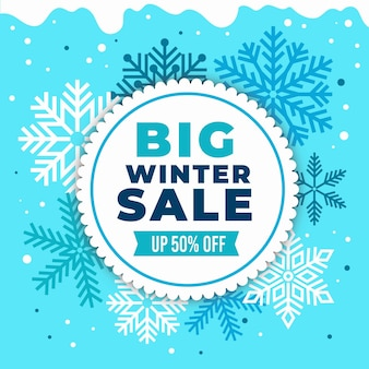 Oferta sprzedaży zimowej płaskiej konstrukcji z płatkami śniegu