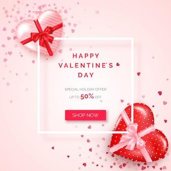 Oferta świąteczna na walentynki. baner internetowy z białą ramką ozdobiony prezentami w pudełkach w kształcie serca z jedwabną wstążką i kokardką.