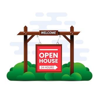 Oferta znak czerwony dom otwarty