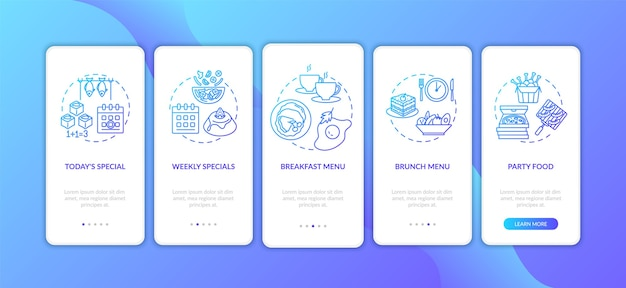 Oferty specjalne wprowadzające ekran strony aplikacji mobilnej z koncepcjami