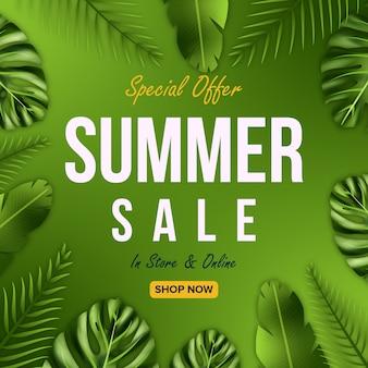 Oferty sprzedaży letniej projekt transparentu z tłem liści