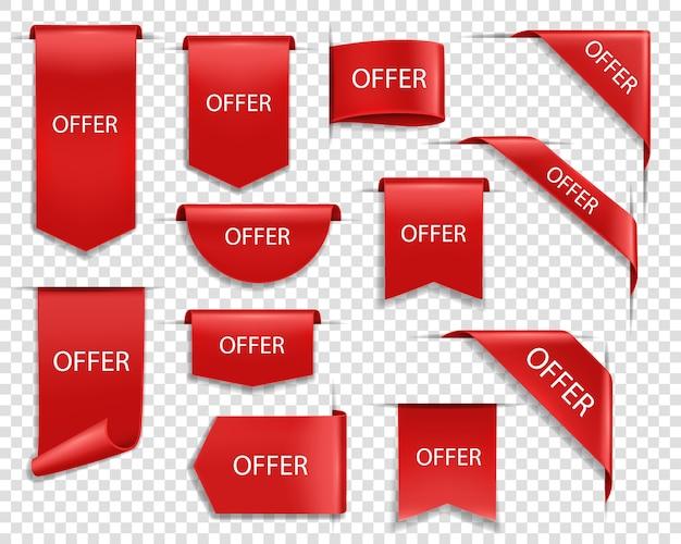 Oferuj czerwone banery, izolowane wstążki i etykiety. wyprzedaż chorągiewek zakupowych z zawiniętymi brzegami, przywieszki, wyprzedaż w ofercie naszywki. internetowe kąciki biznesowe, realistyczny zestaw ikon 3d z rabatem jedwabiu
