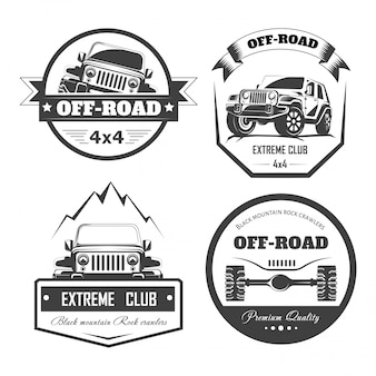 Off-road 4x4 ekstremalne szablony logo klubu samochodowego. symbole wektorowe