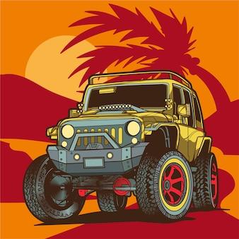 Off road jeep ilustracji
