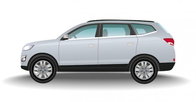 Offroad szary samochód na białym tle. luksusowy pojazd. realistyczny crossover. transport 4x4. wektor