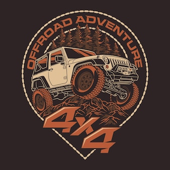 Offroadowa przygoda 4x4 odznaki pojazdu suv