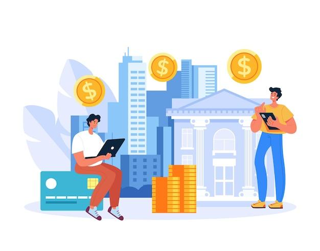 Offshore specjalista bankowości biznes finanse koncepcja płaska grafika ilustracja
