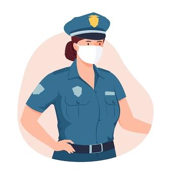 Oficer policji kobiet noszenie maski medyczne.