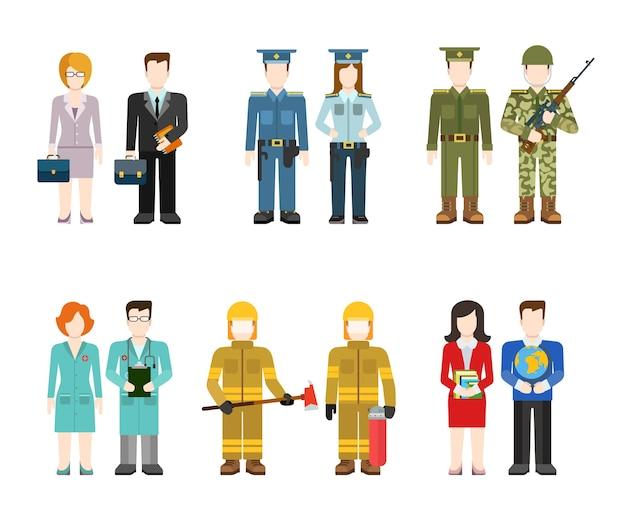 Oficer wojskowy dowódca biznesmen policjant lekarz strażak nauczyciel ludzie w mundurze płaski zestaw ilustracji profilu użytkownika awatara. kolekcja kreatywnych ludzi.