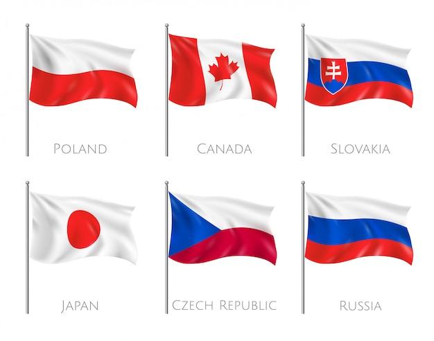 Oficjalne flagi ustawione z flagami polski i kanady realistyczne na białym tle